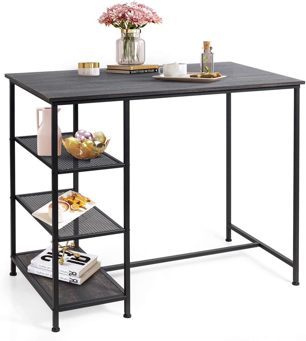 COSTWAY Counter Height Pub Table, Modern Bar Table with 8 Open Storage  Shelves, Dining Table with Metal Frame for Small Space, Dining Room, Living