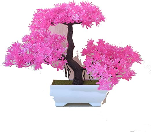 Amazon Com Sale Greeting Pine Cherry Blossom Ball Potted Artificial Flower Bonsai Trigeminal Festival Home Fake Flowers Decorations 24 Home Kitchen