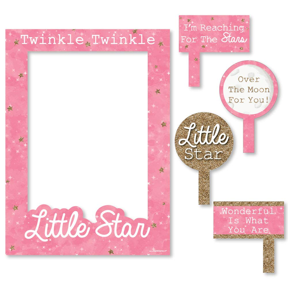 Big Dot of Happiness Pink Twinkle Twinkle Little Star - Birthday Party or Baby Shower Selfie Photo Booth Picture Frame & Props - Printed on Sturdy Material