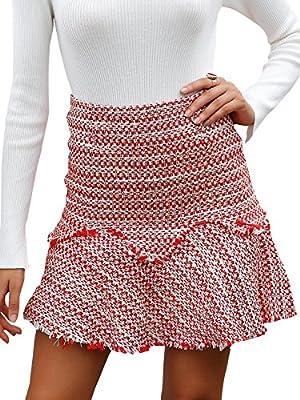 BerryGo Women's Casual High Waist Tweed A-Line Mini Skirt