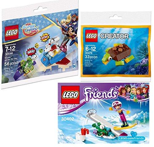 Super Hero Friends Block Building Kit Turtle Creator / Snow Boarding Girl + Krypto Pup Saves the Day DC mini bags 3 Pack