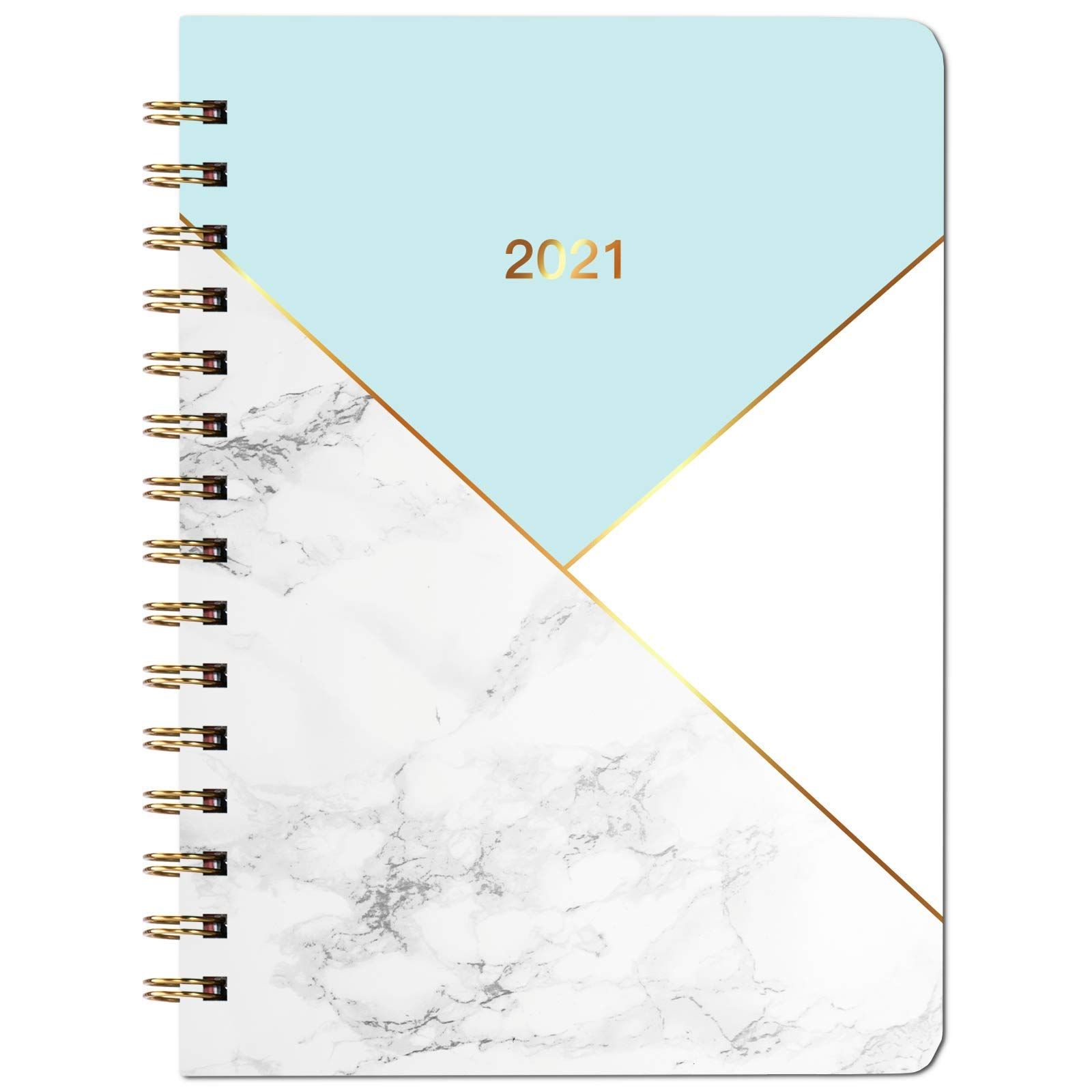 2021 Diary - Diary A5 Week to View, from January 2021 to December 2021, Hardcover with Inner Pocket, Twin-Wire Binding, Blue