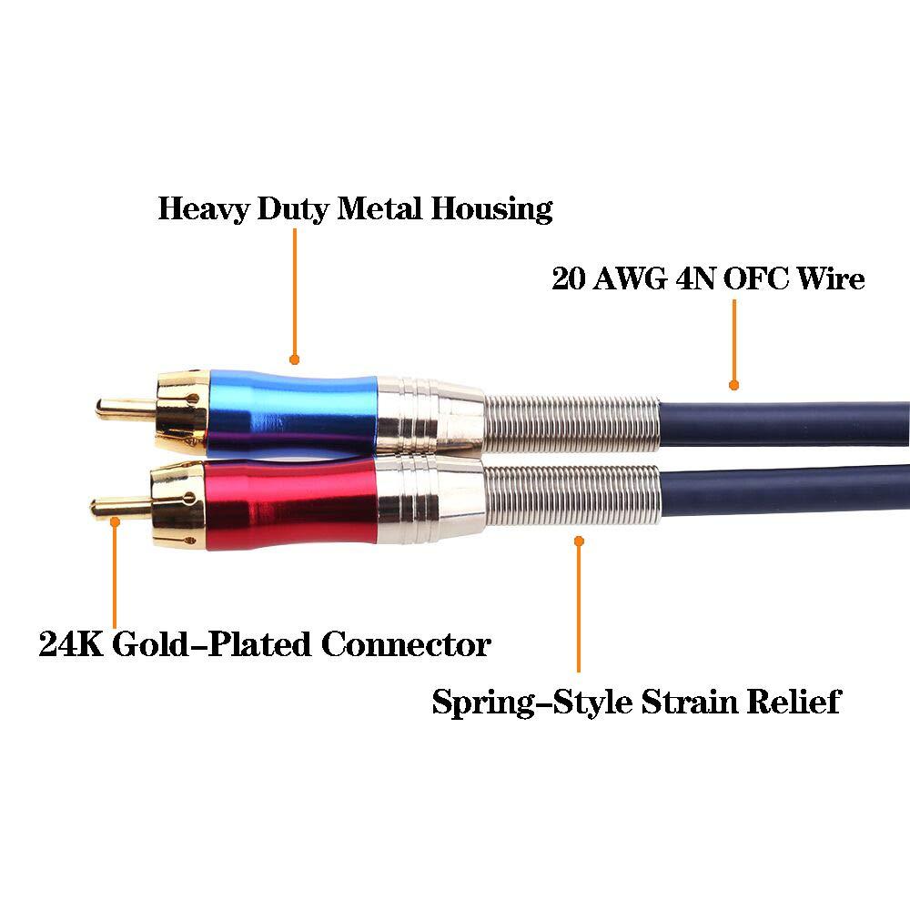 50 cm Tisino XLR Hembra a Doble RCA Y Splitter Patch Cable Desequilibrado 1 XLR a 2 RCA//Phono Plug Splitter Duplicator Cable Adaptador de Cable en Y