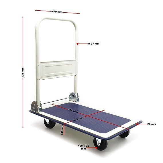 WilTec Carrito Plataforma 300kg Transporte Manual Plegable ...