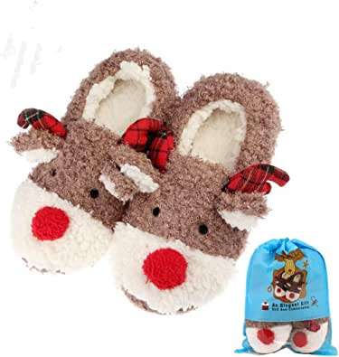 Girls Fleece Lined Super Soft Knitted Spotty Slippers Great Gift 4-6 Ladies