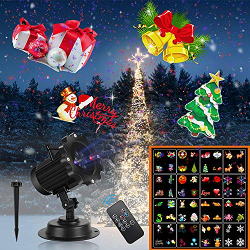 Christmas Projector Lights,UNIFUN 16 Patterns LED Projector Lights with red and Blue Star Laser Waterproof Landscape Light for Celebration Halloween,Christmas Birthday and Party