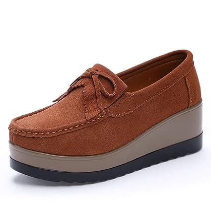 Qiusa Zapatos Bowknot Plataforma de Cuero Borla Mujer Mocasines Casaul (Color : Marrón, tamaño