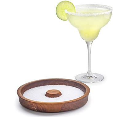 Cork & Mill Margarita Salt Rimmer Dish, Cocktail Rimmer, Acacia Wood Bar Glass Rimmer, Fits Wide Glasses