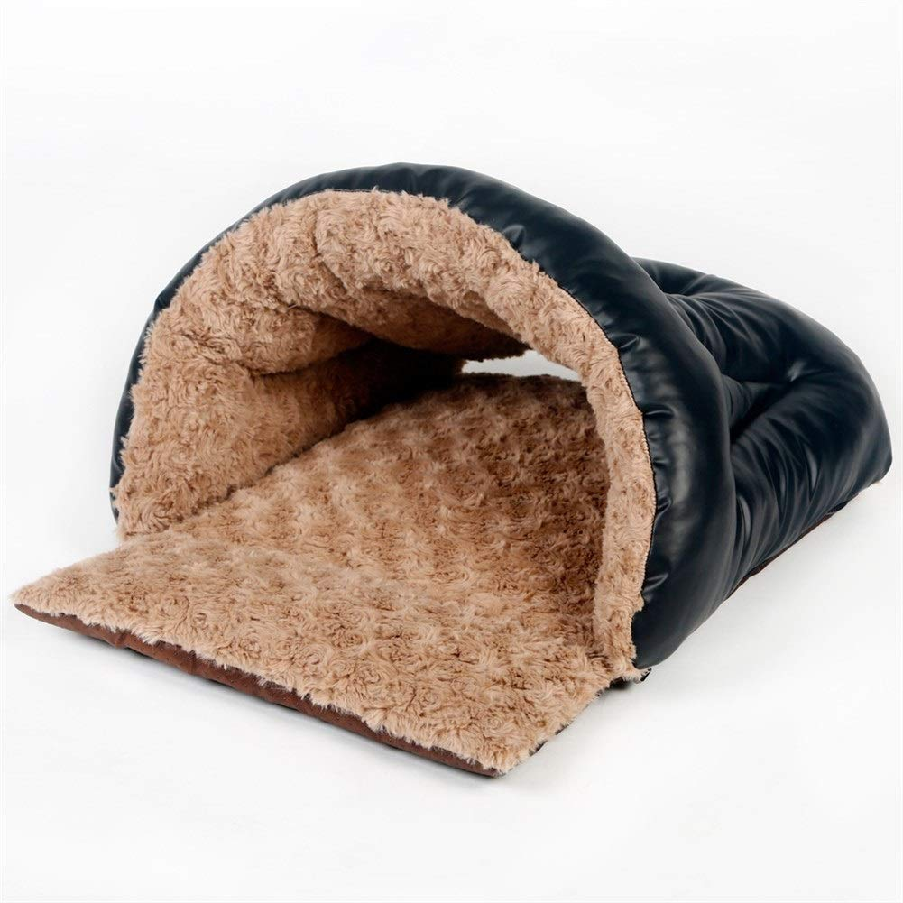 ZYXLN Cave House Shape Nest Pet Sleeping Bed - Four Seasons Universal PU Pet Nest Slipper Nest Fluffy and Full Comfortable and Breathable Double Zipper Detachable Design Easy to Clean by Pet Bed