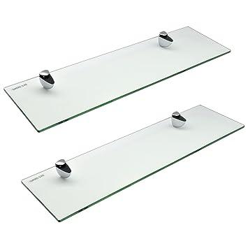Glas Badezimmer Regal Mit Chrom Befestigungen   Ausgeglichenes Glas   50cm    Packung