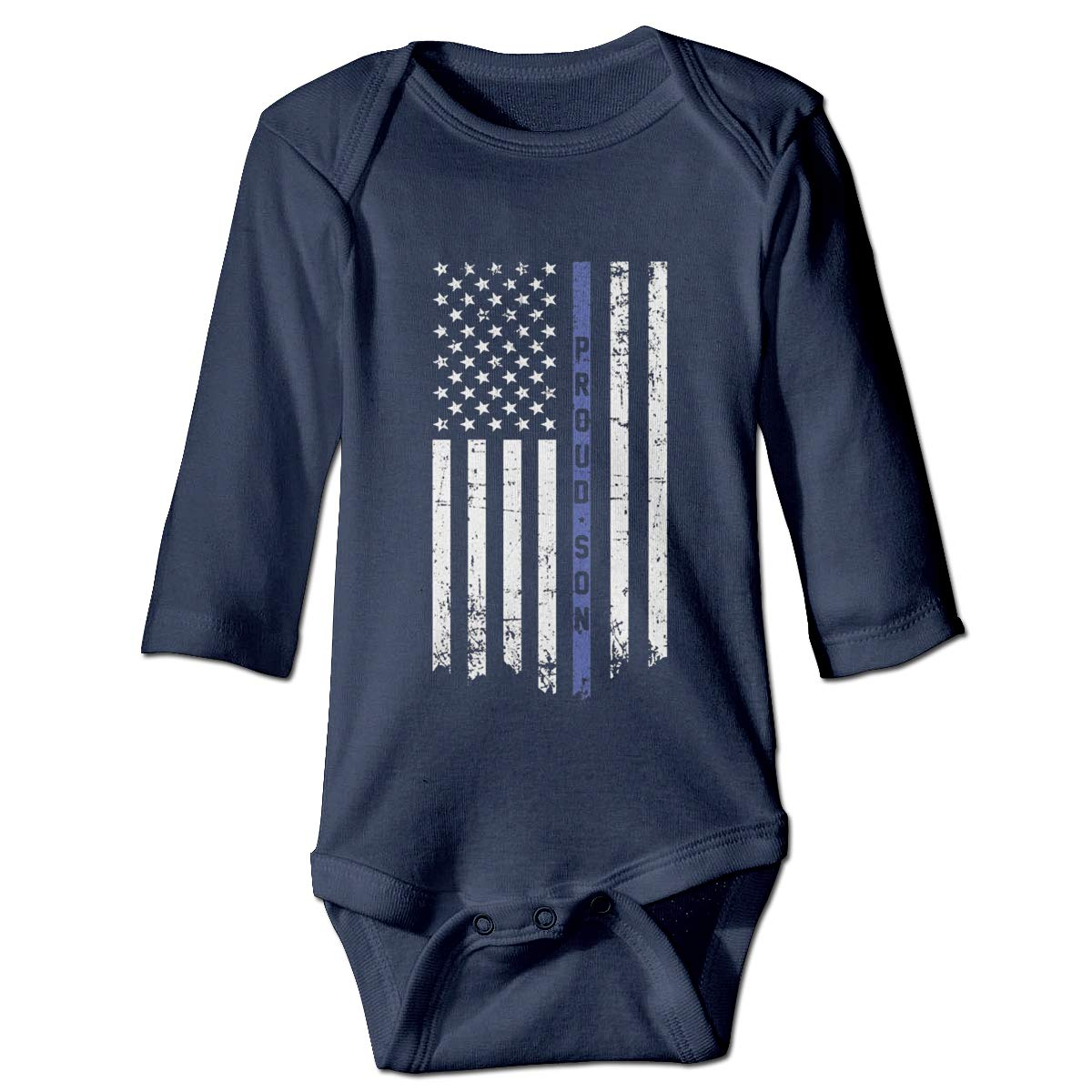 Olyha Proud Son Thin Blue Line Flag Infant Baby Long Sleeve Onesies Bodysuit Soft Romper Outfits