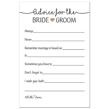 Amazon Com 48 Gold Heart Advice Cards For Bride Groom Wedding
