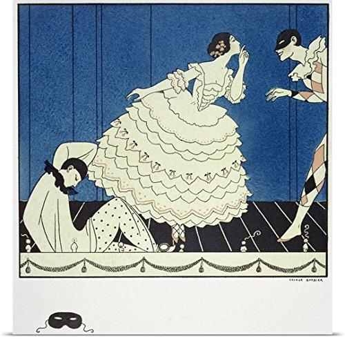 Commedia Dellarte Lovers Costumes (George Barbier Poster Print entitled Tamara Karsavina as Columbine, Vaslav Nijinsky as Harlequin and Adolph Bolm as Pierrot)