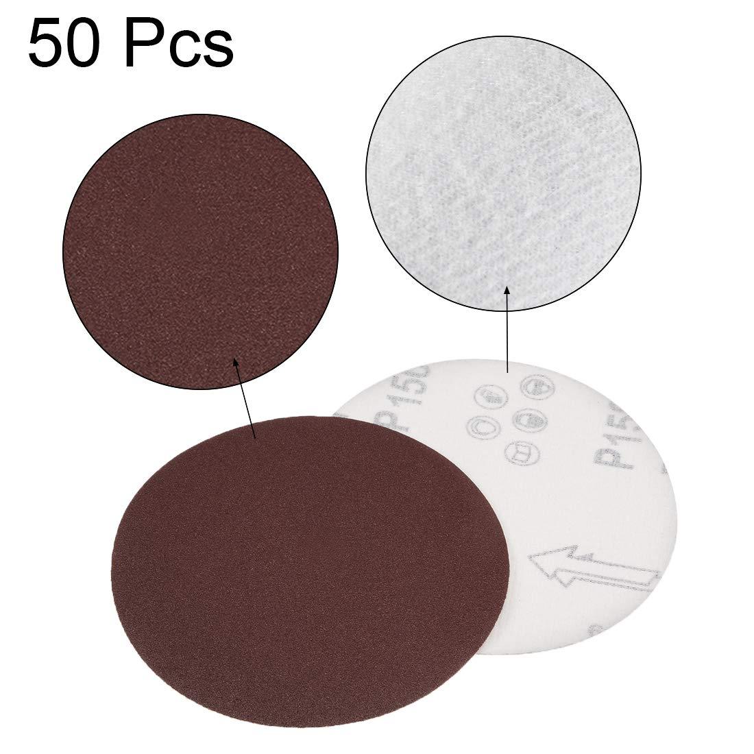 uxcell 5-Inch Sanding Disc 2000 Grits Aluminum Oxide Flocking Back Sandpapers for Sanders 50 Pcs