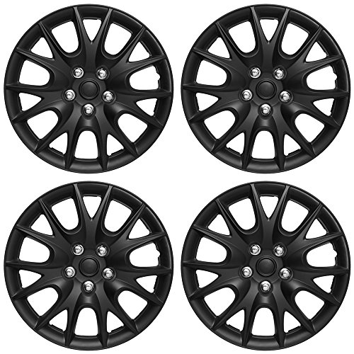 OxGord Hubcaps for Standard Steel Wheels (Pack of 4) Wheel Covers - Snap On - Choose a Size and Color (Black Matte, Fits 15