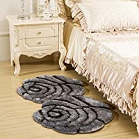 3D Colorful Double Rose Floor Mat Runner Bedside Rug for Bedroom - Fluffy Romantic Rose Ultra Soft Carpet Area Rug 28 by 55 Inch