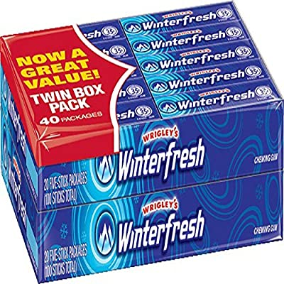 Wrigley's Winterfresh Gum 4/20 Pack Boxes 5 Pieces Per Pack Total 400 Pieces