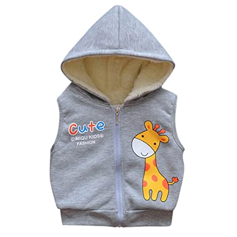 Cute Infant Cartoon Jackets Baby Toddler Warm Veat Waistcoat Fall Clothes Hoodie Coat