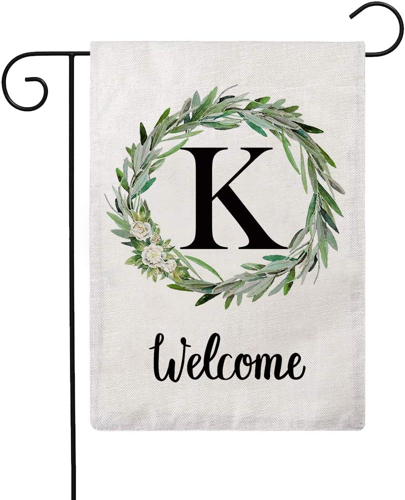 ULOVE LOVE YOURSELF Welcome Decorative Garden Flags with Letter K/Olive Wreath Double Sided House Yard Patio Outdoor Garden Flags Small Garden Flag 12.5×18 Inch