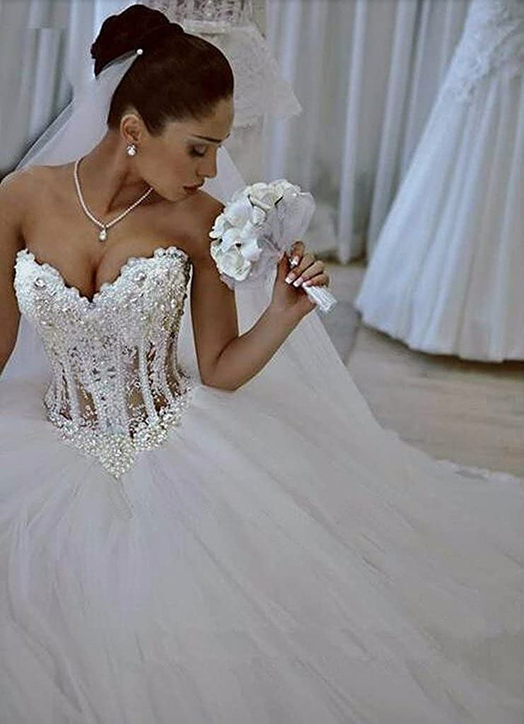5c8f2b1e42 Ice Beauty Pearl Beads Vintage Corset Ball Gown Tulle Wedding Dresses Bridal  Gowns White US 14 at Amazon Women s Clothing store