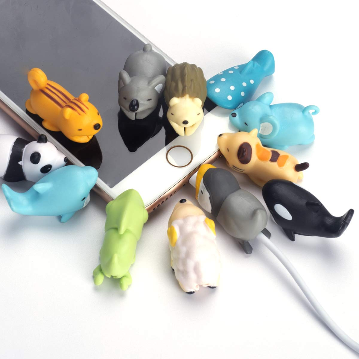 Aitsite 12 Pieces Charger Cable Protector Buddies, Cord Protector Saver with Carry Case and Animals Cable Bites for iPhone and Android Cell Phone Charging Cable by Aitsite (Image #7)