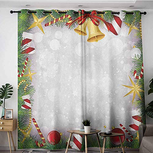 (AGONIU Kids Curtains,Christmas Xmas Eve Carol Theme Frame Pine Spikes Candy Jingle Hand Bells and Ribbon Image,Space Decorations,W120x96L Multicolor)