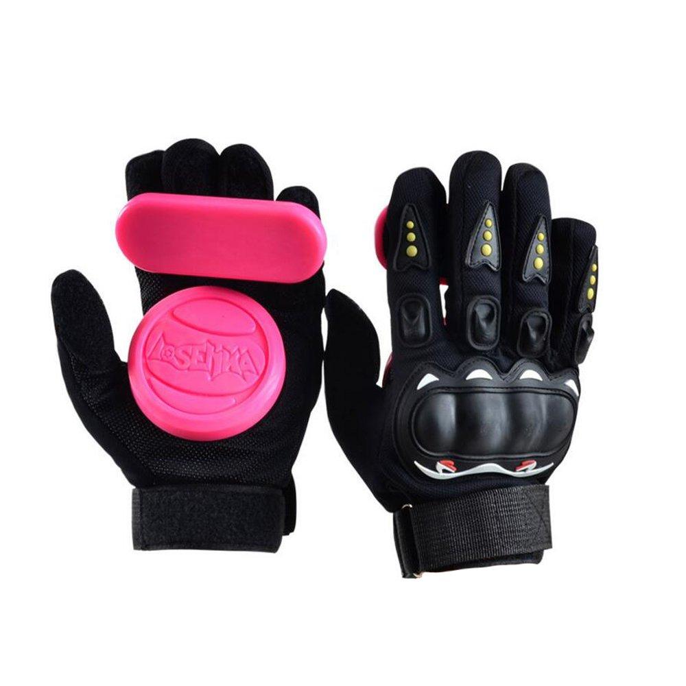 YS Sport Adult Longboard Gloves Downhill Slide Gloves - Slide Gloves with 2 Set Replaceable Slider Puck Set (Pink) by YS Sport