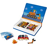 Janod MagnetiBook 69 pc Magnetic Racer Vehicles Game for Imagination Play - Book Shaped Travel/Storage Case Included - S…
