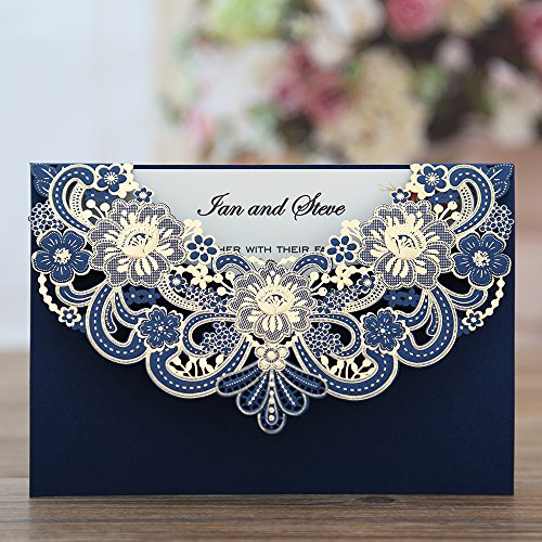 Doris Home navy blue Laser Cut Flora Lace invitation cards with envelopes for wedding invitations, Bridal Shower, Engagement, Birthday, Bachelorette Party, Baby Shower, 50 pcs/lot