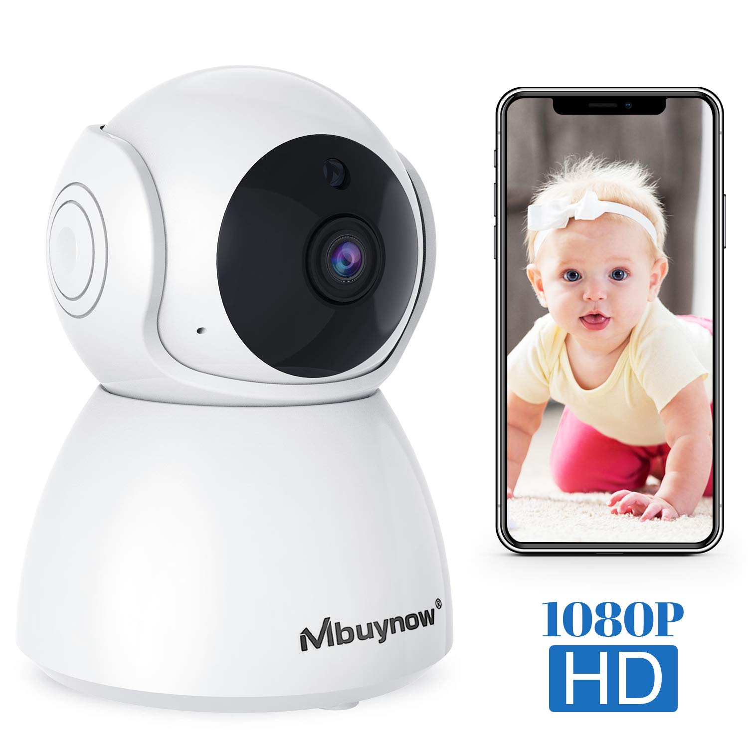 WiFi IP Home Camera, Mbuynow Wireless 1080P Home Indoor Security Surveillance Camera Nanny Cam for Baby Elder Pet Nanny Monitor with PTZ Motion Detection Night Vision 2-Way Audio Cloud-Storage