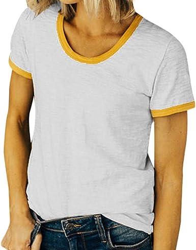 Camiseta Básica De Verano para Mujer O Cuello Basic Camisa De Manga Corta Sin Mangas Blusa Sin Mangas Elegante Moda Ocio Blusa Tops Ropa: Amazon.es: Ropa y accesorios