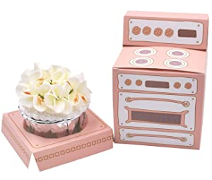 ZEALAX Pastel Pink Oven Cupcake Boxes Individual Bakery Paper Box Holder with Inserts Party Favor Boxes, 10 Count