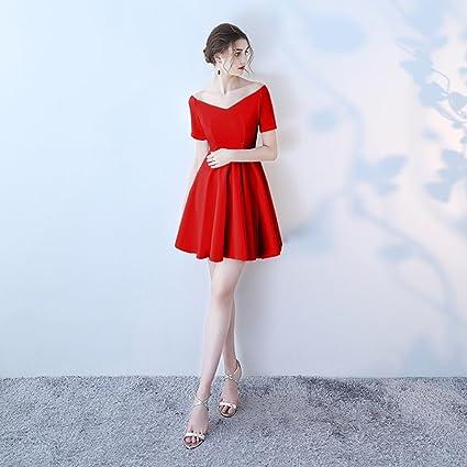 Vestido de noche Negro/Rojo/Rojo Vino Mujer Verano V Cuello Fiesta Vestido De