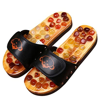 520f9ab1506e FJY Foot Massage Slippers Shoe Foot Care Reflexology Sandals With Natural  Acupuncture Stones Mules Promote Blood Circulation and Improve Metabolism  CM003 ...