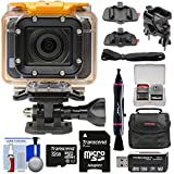 HP AC300w 1080p HD Wi-Fi Action Camera Camcorder Action Mounts + 32GB Card + Case Kit (Certified Refurbished)