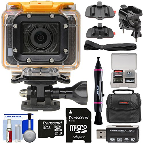 HP AC300w 1080p HD Wi-Fi Action Camera Camcorder with Action Mounts + 32GB Card + Case Kit (Renewed)