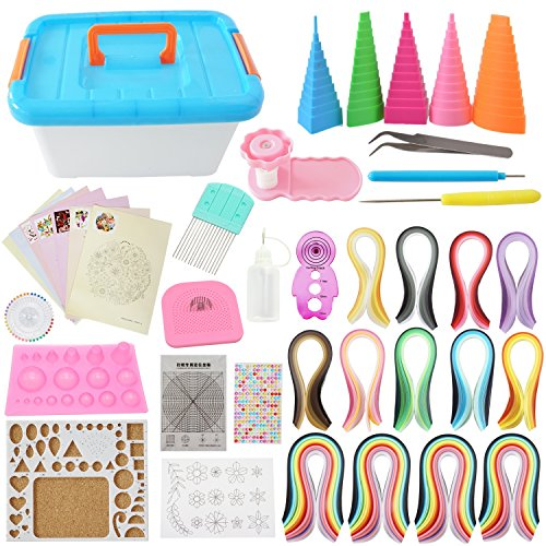 Quilling Kit Complete Quilling Paper Set with 1940 Strips All Necessary Tools and Storage Box Suitcase for Beginners, Advanced Quiller, Kids and Adults by BAIYUN