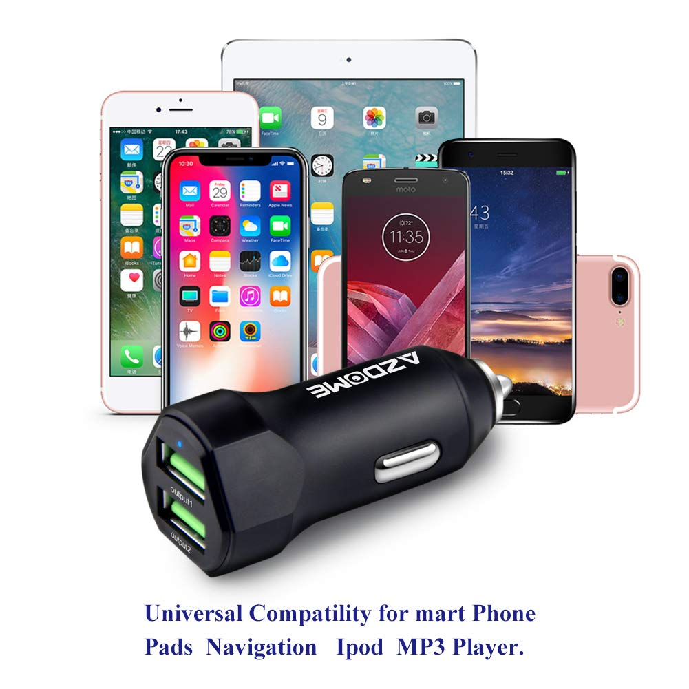 Samsung Galaxy//Note 5V//2.4A//3.0A LG HTC Nexus Chargeur de Voiture Allume Cigare Azdome USB Double Ports 5V//2.4A//3.0A Chargeur Telephone Voiture pour iPhone 8//8 plus//iPhone x iPad Air//Mini
