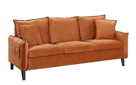 Modern Living Room Brush Microfiber Sofa (Rust)
