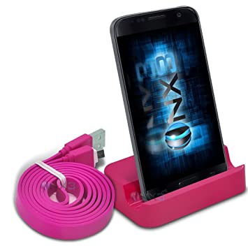 (Rosa) BQ Aquaris X5 Desktop Soporte base USB de sincronización de datos de estación base de carga + cable de sincronización de datos ONX3®