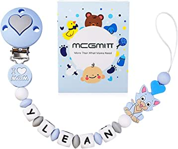 MCGMITT Clip para chupete con nombre personalizado, pinzas para dentición simuladas, pinza para chupete, soporte para chupete de silicona, soporte Binky para Baby Shower, sin BPA(Azul claro): Amazon.es: Bebé
