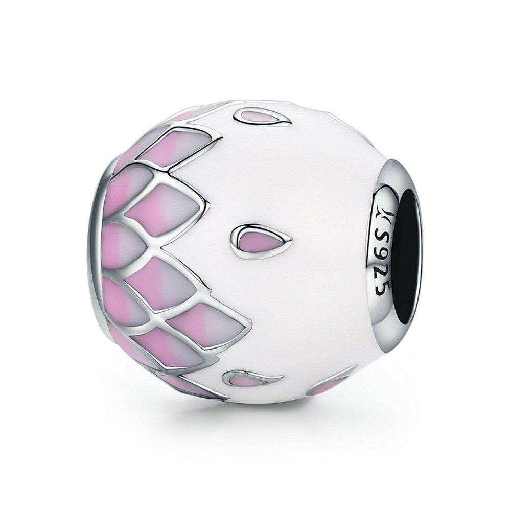 Pink White Enamel Petals 925 Sterling Silver Bead Fits European Charm Bracelet The Kiss SSCWS0107
