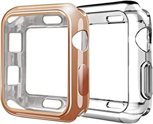 Compatible with Apple Watch Case 38mm,2Pack TPU Protective Case Scratch-Resistant Bumper Compatible for Apple Watch Series 3 Series 2 Series 1 Edition Sport(2Pack, Rose Gold+Clear, 38mm)