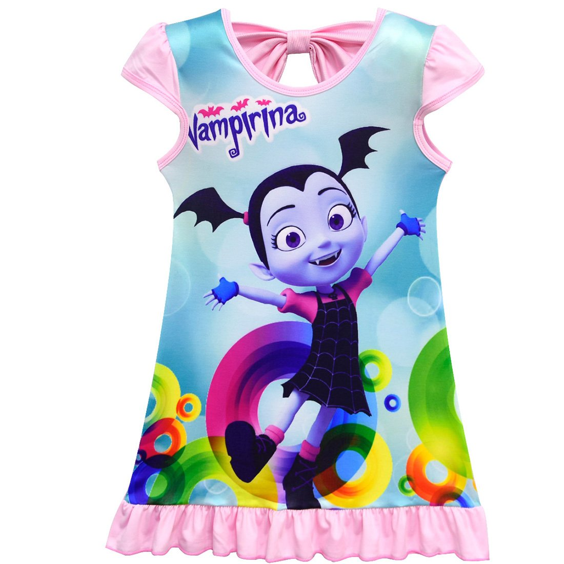 ZHBNN Vampirina Toddler Girls Summer Nightgown Pajamas Party dress(Pink,120/6-7Y)