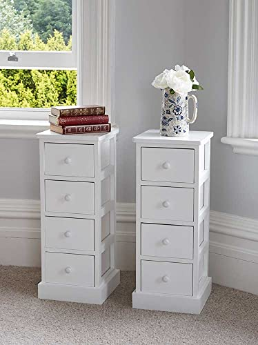 Assembled Slim Narrow White 4 Chest Of Drawer Bedside