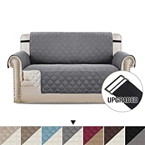 H.VERSAILTEX Loveseat Covers Loveseat Slipcover Reversible Quilted Furniture Protector with Elastic Straps Slip Resistant Furniture Cover for Kids, Dogs, Pets (Loveseat Medium: Grey/Beige)