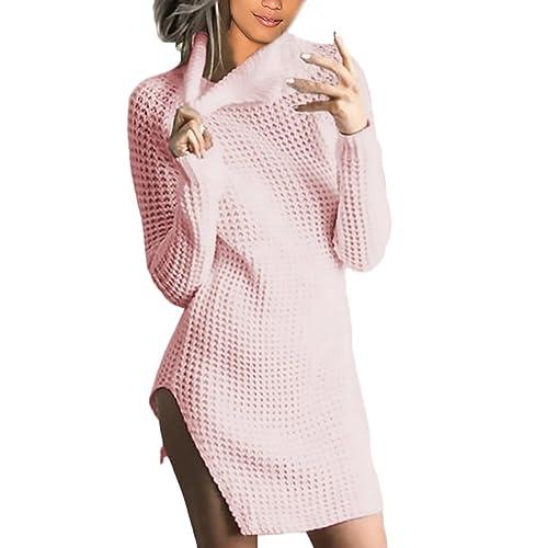 Vestiti Donna Eleganti Maglieria Manica Lunga Collo Alto Tubino Con Spacco Vintage Moda Casual Autunno Et Inverno Corti Matita Abito Maglia Maglie Maglioni Vestito Vestitini