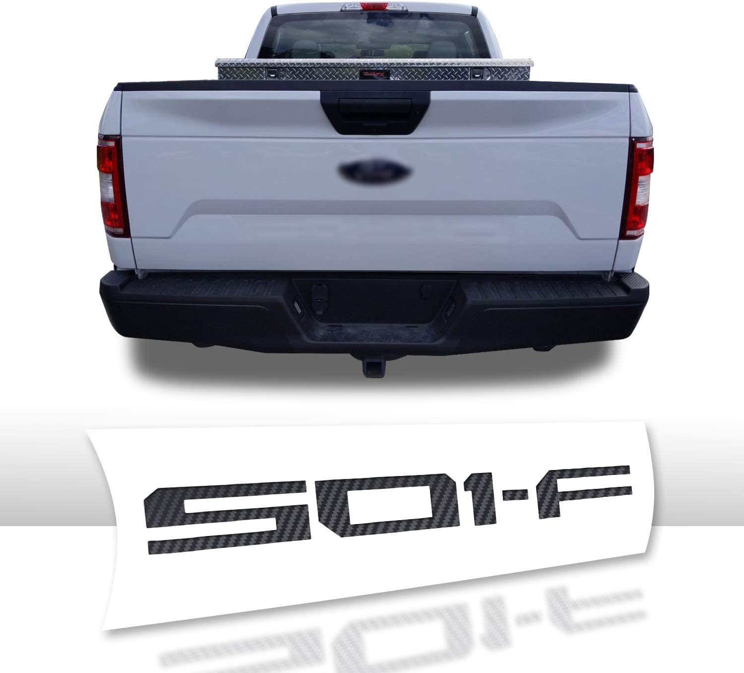 Optix Tailgate Vinyl Decal Letters Overlay Trim Wrap Inserts Sticker Compatible with and Fits F-150 2018 Carbon Fiber White
