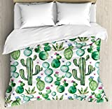 Green Decor Duvet Cover Set by Ambesonne, Mexican Texas Cactus Plants Spikes Cartoon Like Art Print, 3 Piece Bedding Set with Pillow Shams, Queen / Full, White Light Pink and Lime Green