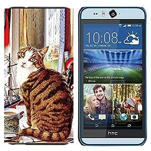 EJOOY---Cubierta de la caja de protección para la piel dura ** HTC Desire Eye M910x ** --American Shorthair Gato Sentado Arte